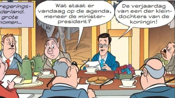 Mark Rutte Stripfiguur Donald Duck.: