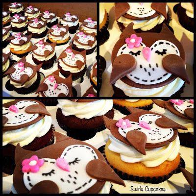 Owl theme cupcakes by Swirls