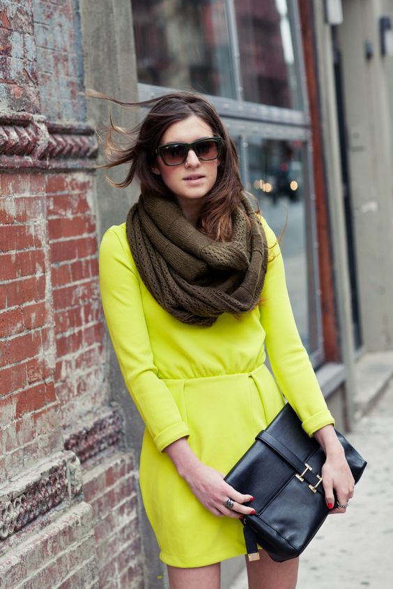 H Neon green dress, knit infinity scarf, basic black clutch, studded booties