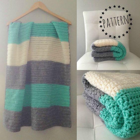 Crochet Color Block Blanket Pattern