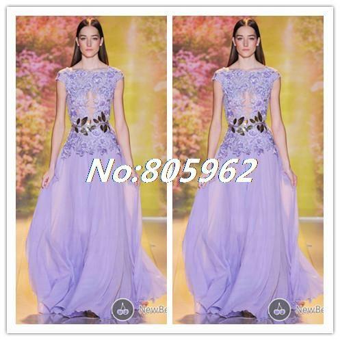 Elie Saab 2014 A Line Appliques Handmade Scoop Chiffon Purple Long Evening Dress Floor Length vestido de festa Prom Gowns E8 $184.99