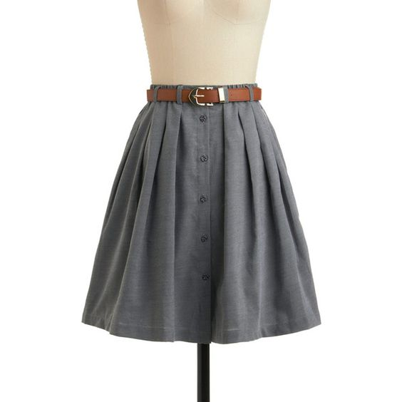 ModCloth Menswear Inspired Mid-length Full Living the Dream Skirt (€47) ❤ liked on Polyvore featuring skirts, modcloth, bottoms, grey, grey skirt, moon collection, gray pleated skirt, pleated skirt et mid length skirts