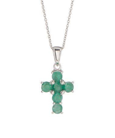 Another great find on #zulily! Emerald & Sterling Silver Cross Pendant Necklace #zulilyfinds
