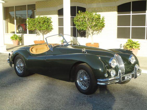 The ultimate dream car.  1955 Jaguar convertible British racing green
