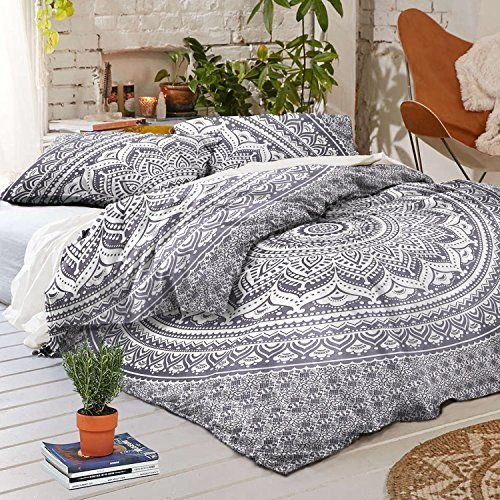 3 Piece Indian Grey Duvet Cover Queen Size 85x95 Inches With Two