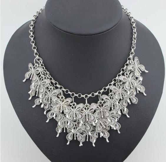 Hot-Women-Jewelry-Pendant-Crystal-Choker-Chunky-Bib-Statement-Necklace-Flower