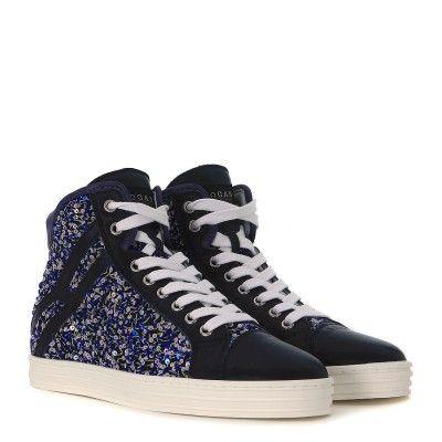 Laterale Sneaker Hogan Rebel R182 alta in pelle blu genziana con paillettes