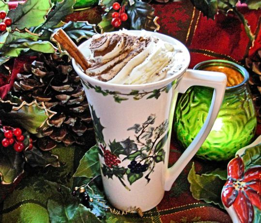 Holiday Hot Chocolate with Brandy and Cream