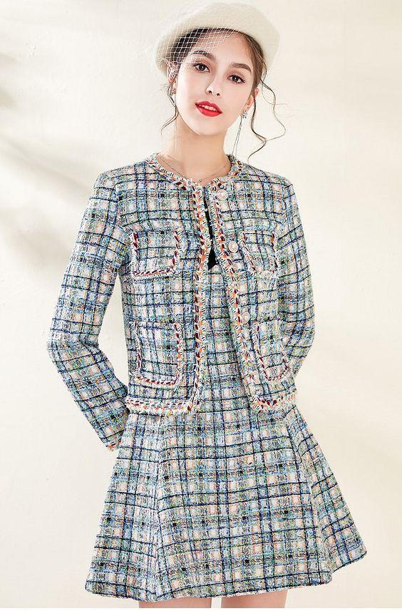 """W300298 - Conjunto Elegante Formal """"Chanel"""" Alta costura, 2 peças 1 set, Jaqueta e Vestido - material: algodão, lã mistura @westfrontpt"""