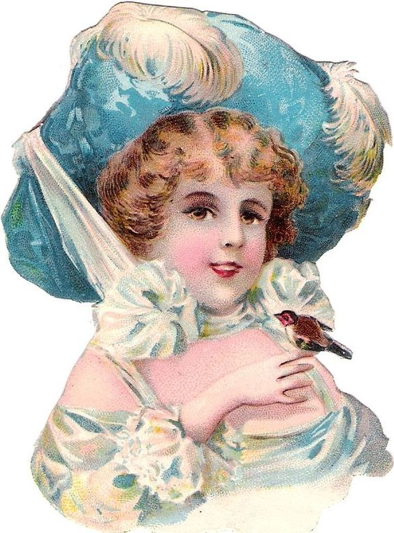 Oblaten Glanzbild scrap die cut chromo Dame lady Kopf Feder Hut Vogel bird: