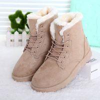 Mujeres invierno nieve Botas talones planos zapatos de invierno de la Mujer Botas Botas Mujer botines de piel caliente negro R01