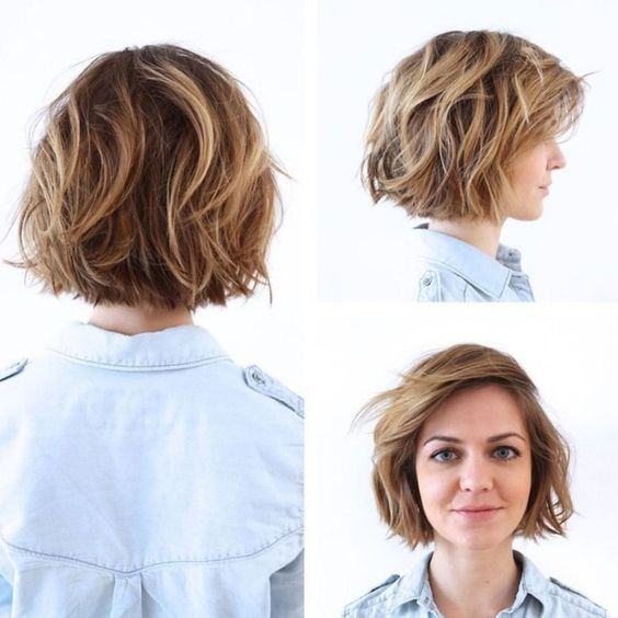 I don't like this. . The hair all ending at the same length looks like puppy dog ears on me. Wavy Messy Bob With Blonde Highlights