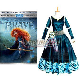 gratis verzending custom- made merida prinses jurk dappere legende cosplay prinses jurk