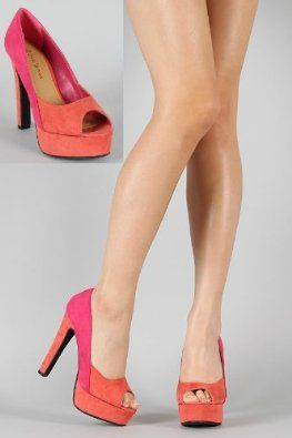 Shoehorne Sabine04 - Womens Coral Orange and Pink Pastels Peeptoe ...