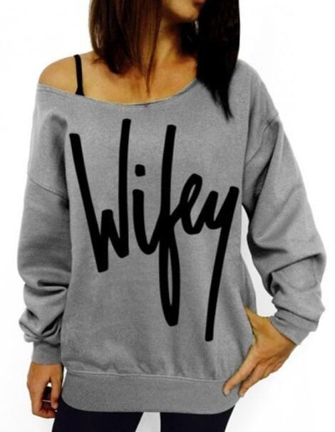 Romoti Wifey Letter Print Sweatshirt.Only $22.99 & free shipping in Romoti.com