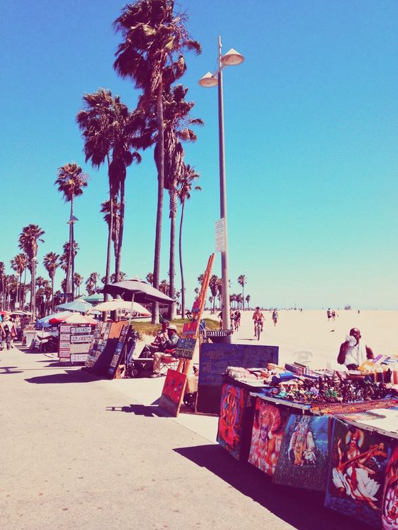 Venice Beach boardwalk, LA.  I'm not a big beach person, but this one's got the best vibe in the world.
