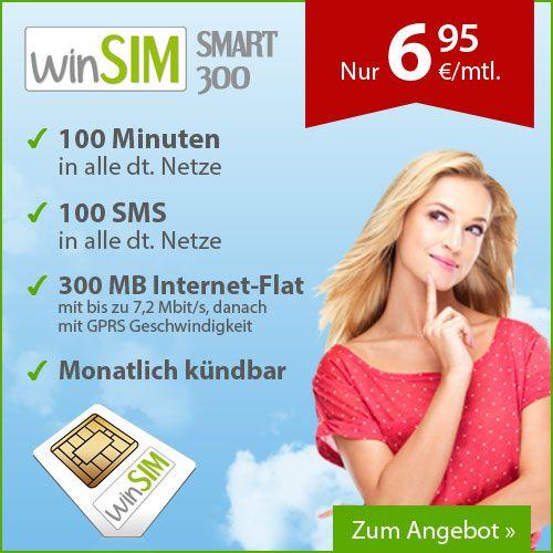 Simkarten-Aktionen.de: 100 Minuten & 100 SMS inkl. 300 MB Internet-Flat f...