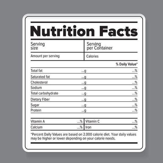 Nutrition Facts Vector Label Nutrition Facts Label Nutrition Facts Design Nutrition Labels