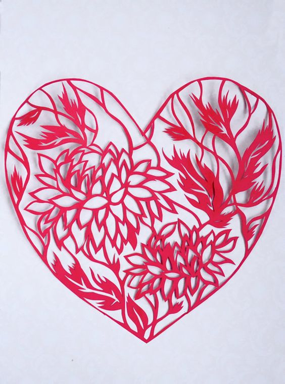 Original paper cut work in red and creamy Heart by ArtHeartsShop