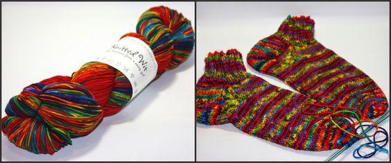 Knitting socks.