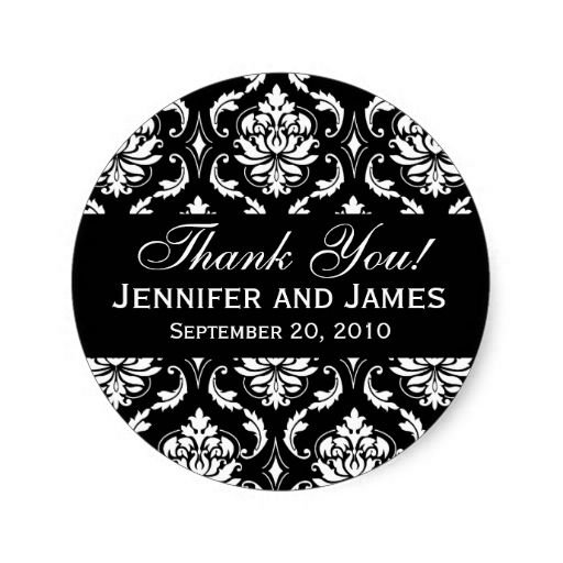 Black and White Wedding Damask Thank You Label Classic Round Sticker
