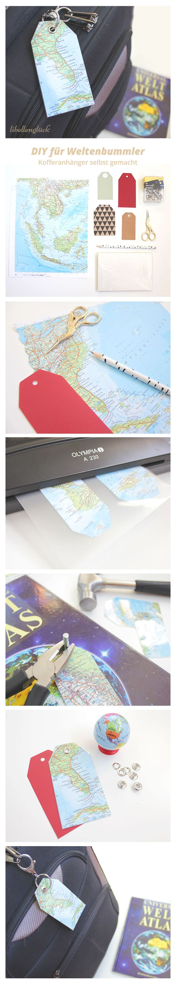 DIY für Weltenbummler - Kofferanhänger selbst gemacht - libellenglück