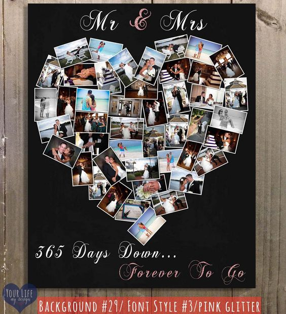 First anniversary gift anniversary photo collage for Gift ideas for first wedding anniversary to wife