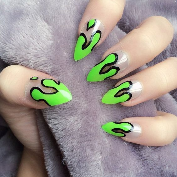 Doobys Stiletto Nails - Dripping Gunge Green - 24 Claw Point False Nails gothic