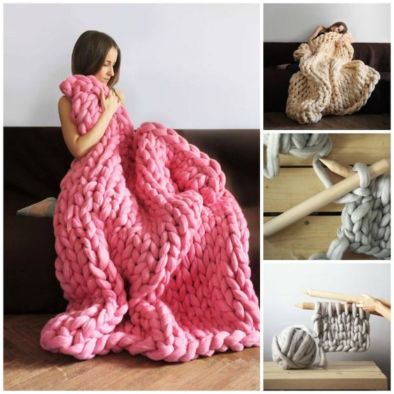 Knitting A Chunky Blanket : Diy super chunky knit blanket by anna mo do it yourself