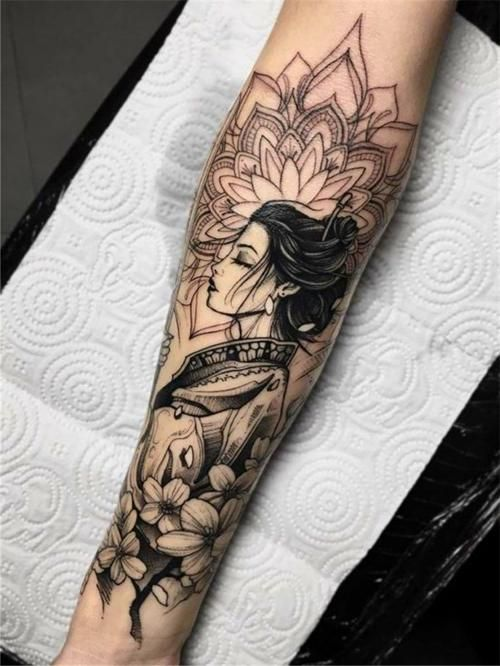 50 Amazing And Unique Arm Tattoo Designs For Women Page 29 Of 50 Chic Hostess In 2020 Floral Arm Tattoo Arm Tattoos For Women Geisha Tattoo Design