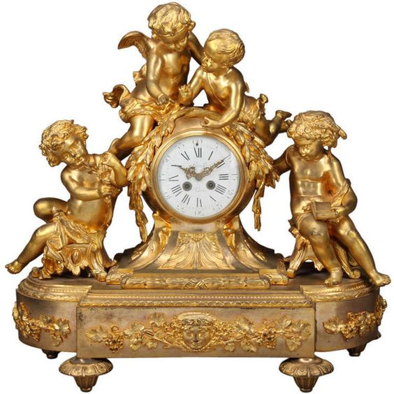 Large Antique Gilt Bronze Figural Mantel Clock (44 920 AUD) ❤ liked on Polyvore featuring home, home decor, clocks, bronze figurines, bronze home decor, antique bronze clock, antique figurine and antique desk clock