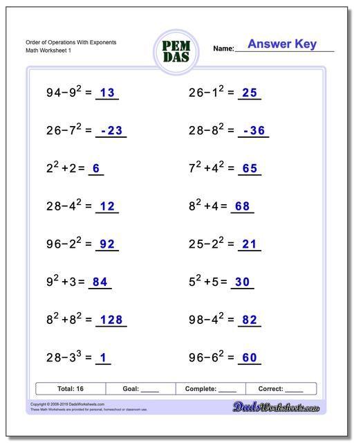 Https Www Dadsworksheets Com Order Of Operations With Exponents Worksheet Order Of Operations Works In 2020 Pemdas Worksheets Order Of Operations Math Worksheets