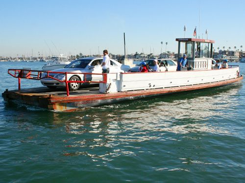 Balboa Pier Ferry. Newport Beach, CA.  Took the '51 lime green Ford on one trip. walk on passengers too