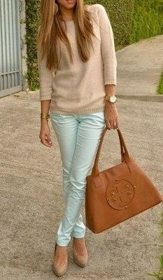 Casual mint and cream outfit. Hmmm I already have those jeans. Never thought to pair them with nude pumps though...