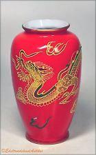 Vase Gold Castle Japan Drache Dragon Korallenrot / Gold