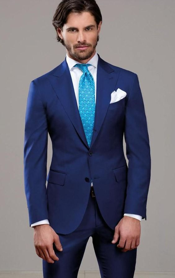 High-Ranking-Amazing-Blue-Long-Sleeve-Men-s-Wedding-Suit-Include