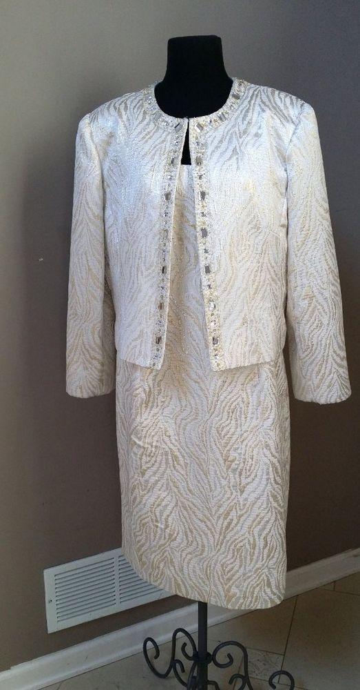 Vtg Patra gold & off-white brocade dress & jacket set Wedding Mother of  Bride | Dress and jacket set, Brocade dresses, Bride clothes