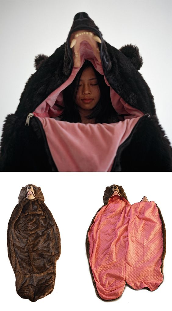 """The """"Great Sleeping Bear"""" is the sleeping bag you can slip into and hibernate for the night like a real bear."""