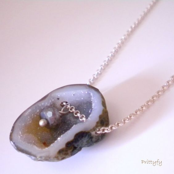 Love this Druzy & Labradorite Organic Necklace Sterling by PrittyfyJewelry