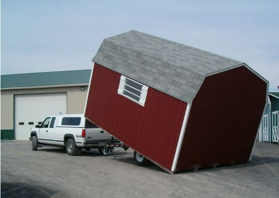 Insert the shed in the truck or trailer
