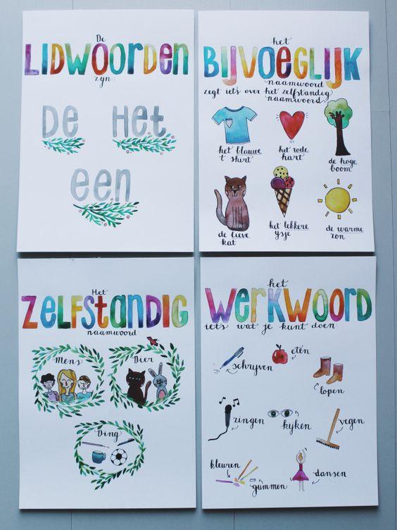 Deze geweldige posters worden gemaakt door een collega van mij! Ze zijn heel mooi en ook nog eens duidelijk.  Taalposters | www.chaninehameetman.com