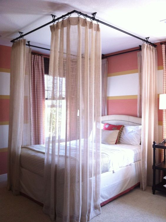 Ceiling hung curtains around bed | ** Bedrooms | Pinterest ...