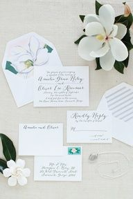 wedding invites , pastel magnolia (mint leaves, white petals -pink-yellow center)
