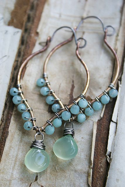 Wire wrapping sterling silver earrings with turquoises and beads in boho style. For more follow www.pinterest.com/ninayay and stay positively #pinspired #pinspire @ninayay