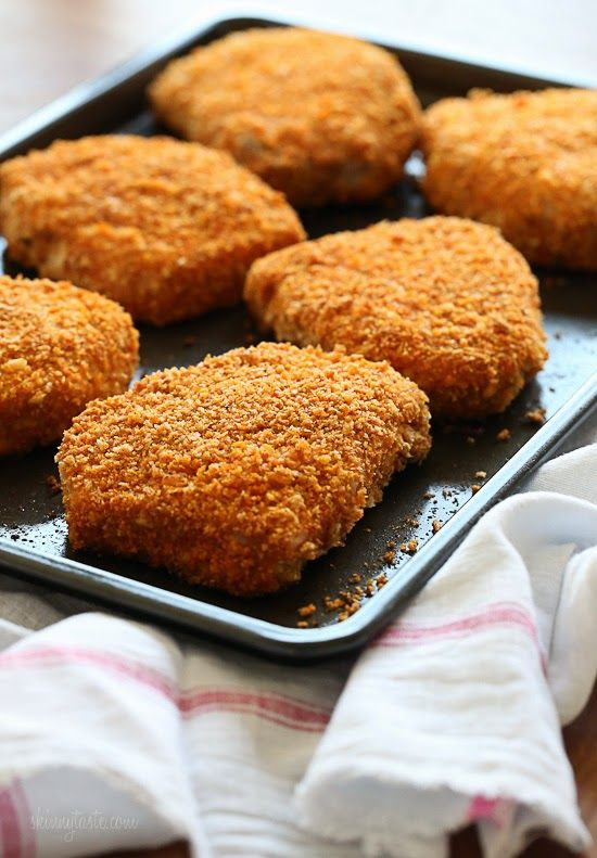 """Oven """"Fried"""" Breaded Pork Chops   ⭐️ Made this 12/9/15- very good! Used Special K for corn flakes and Garlic & Herb breadcrumbs for Panko (so omitted garlic and onion powder). Baked on rack so wouldn't stick but bottoms got a bit soggy. Just enough breading in recipe for my 10 smaller chops. Sprinkled remaining on top. Excellent flavor!"""
