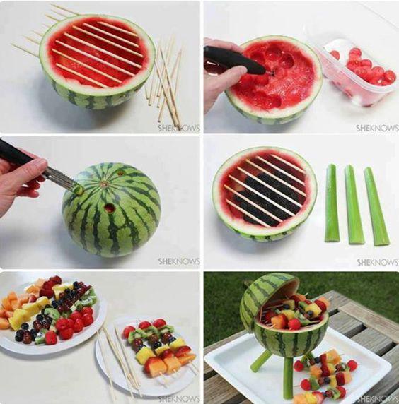 15 Original Picnic Ideas for Labor Day: Fun Food, Fruit Salad, Watermelon Bbq, Food Ideas, Food Network/Trisha, Food Art, Watermelon Grill, Party Ideas, Party Food