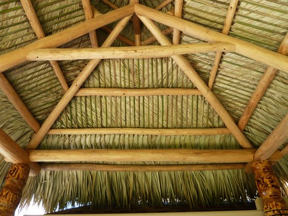 Thatched Roof Made From Real Palm Fronds Florida