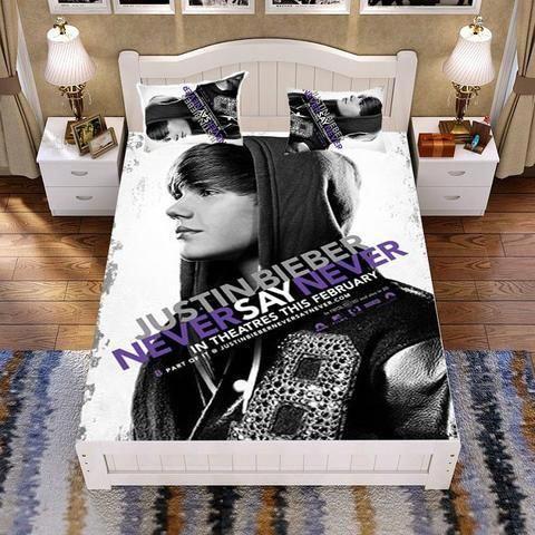 Justin Bieber Customised Han Cotton Bed Set Bed Sack Bed Sheet