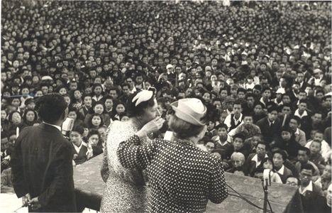 Helen Keller with Polly Thomson in Fukuoka, Japan, 1948: