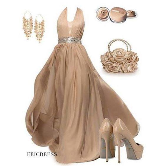 Vestido largo de fiesta color nude